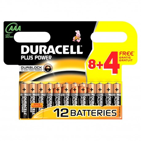 Duracell AAA 1,5V 12Ud Alcalina Plus Power