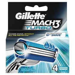 Gillette Mach 3 Turbo Recambio 4Ud