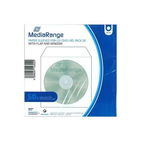 MediaRange, sobre papel CD/DVD, Ventana, 50 uds