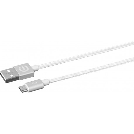 Estuff cable microUSB - USB 1M, Plata