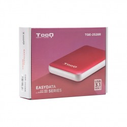 """Tooq Caja externa HD 2,5"""", SATA, USB 3.1, Roja"""